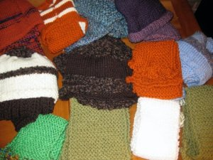 just some of the scarves and hats